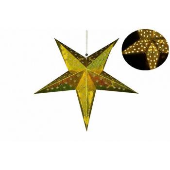 Vánoční dekorace - hvězda s časovačem 60 cm - 10 LED, zlatá