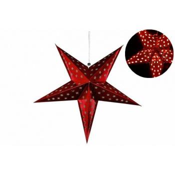 Vánoční dekorace - hvězda s časovačem 60 cm - 10 LED, červená