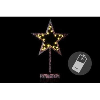 Vánoční dekorace - Hvězda bronzová - 39 cm , 20 LED