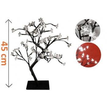 Dekorativní LED osvětlení - strom s květy - 45 cm, studená bílá