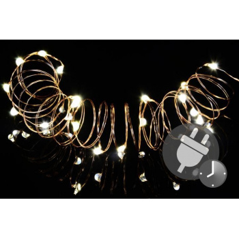 Vánoční světelný řetěz - MINI 50 LED s časovačem - teple bílá