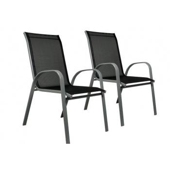 Sada 2x zahradní židle stohovatelná s vysokým opěradlem