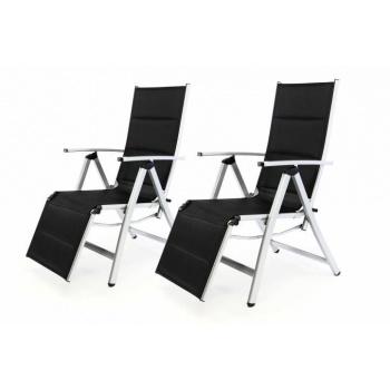 2x skládací polohovatelná venkovní židle, nastavitelné opěradlo, šedá / černá