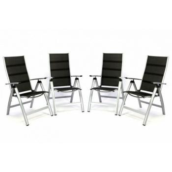 2x luxusní hliníková židle na zahradu, dvojitá umělá textilie, šedá / černá