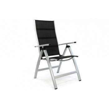 Luxusní hliníková zahradní židle, dvojitá umělá textilie, šedá / černá
