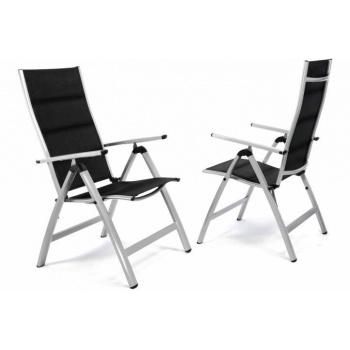 2x luxusní hliníková zahradní židle, dvojitá umělá textilie, šedá / černá