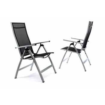 2x lehká zahradní židle s hliníkovou kostrou, umělá textilie, šedá / černá