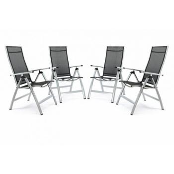 4x lehká zahradní židle s hliníkovou kostrou, umělá textilie, šedá / černá
