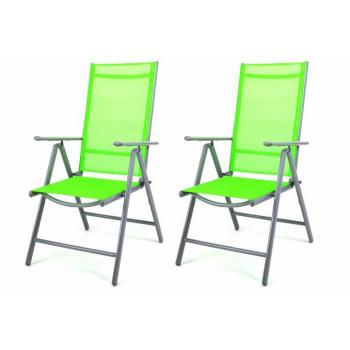 2x lehká skládací kovová venkovní židle, výplet z umělé textilie, zelená