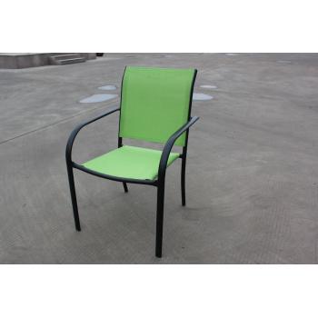 Pevné kovové venkovní křeslo, potah z umělé textilie, černá / zelená