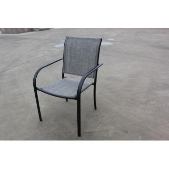 Pevné kovové venkovní křeslo, potah z umělé textilie, černá / šedá