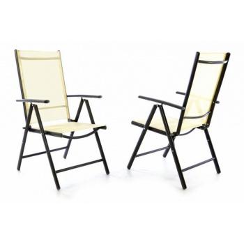2x moderní kovová skládací zahradní židle, nastavitelná opěrka, antracit / krémová