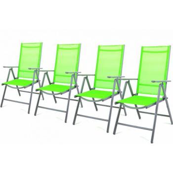 4x skládací kovová hliníková zahradní židle, umělá textilie, šedá / zelená