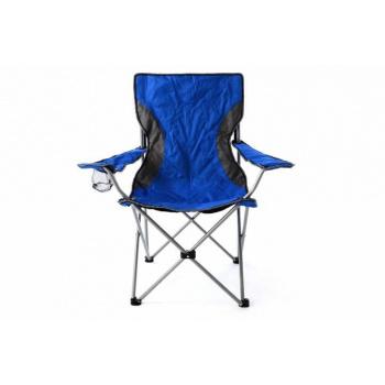 Rybářká / kempovací skládací židle kov / textilie, v područkami, modrá / šedá
