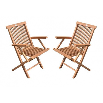 2x venkovní skládací dřevěná židle, s područkami, tvrdé týkové dřevo