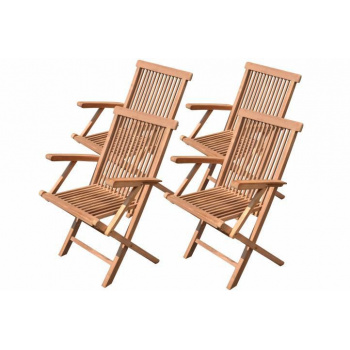 4x zahradní židle z masivu- teakové dřevo, područky, skládací rám
