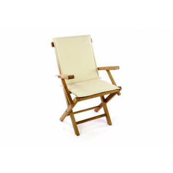 Venkovní dřevěná skládací židle vč. polstrování, hnědá / krémová