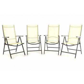 4x elegantní zahradní židle, hliníkový rám / umělá textilie, krémová