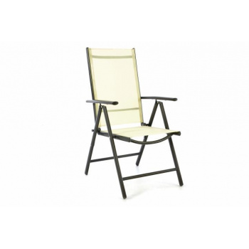 Lehká hliníková židle na zahradu, umělá textilie, polohovatelná, krémová
