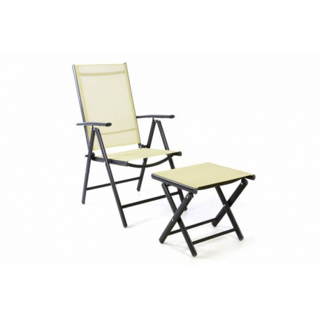 Zahradní polohovatelná židle + stolička pod nohy - krémová