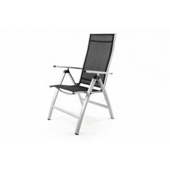 Masivnější hliníková zahradní židle s umělou textilií, stříbrná / černá