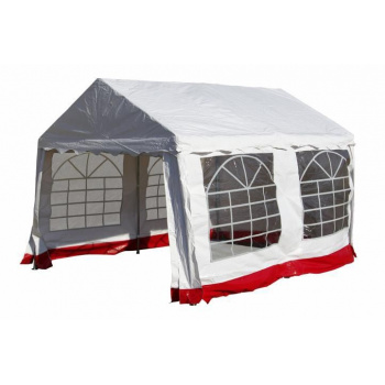 Zahradní párty stan - bílý s červeným lemem 3 x 4 m