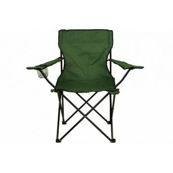 Kempinková skládací židle s područkami, držák na nápoj, zelená