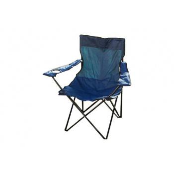 Kempinková skládací židlička, hliník / textilie, držák na nápoje, modrá