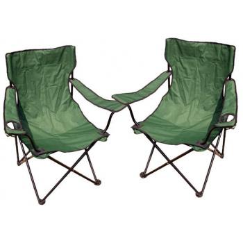 2x lehká přenosná skládací židle na kempování / rybaření, zelená