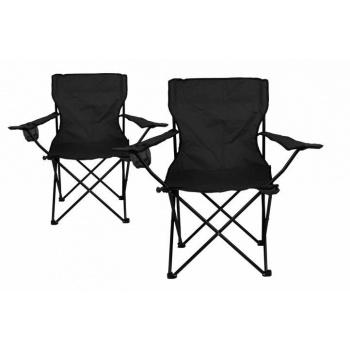 2x skládací kempovací židle, kovový rám / textilní potah, černá