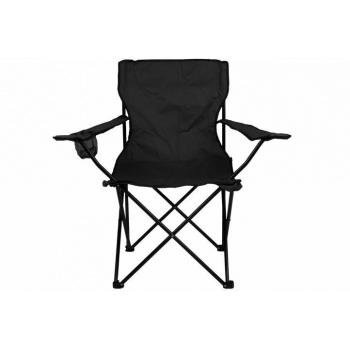 Skládací kempovací židle, kovový rám / textilní potah, černá