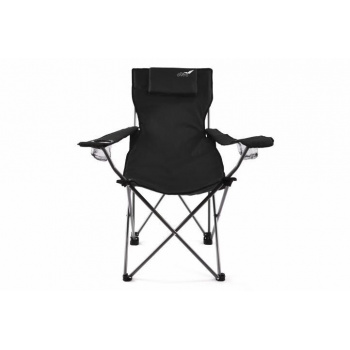 Skládací kempingová židle DIVERO s polštářkem - černá