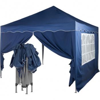 Zahradní párty stan nůžkový 3x3 m + 2 boční stěny - modrý