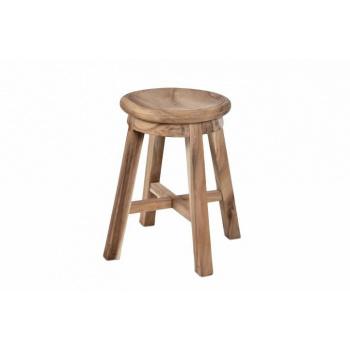 Menší kulatá dřevěná stolička, asijský dub, ruční výroba, 49 cm