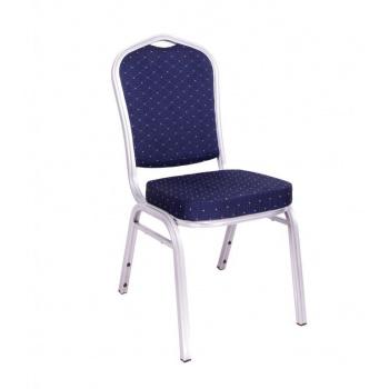 Interiérová pevná židle s vysokou nosností 150 kg, kov / textilie, modrá