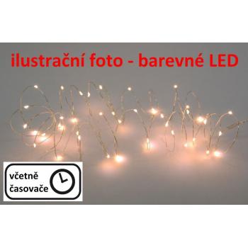LED osvětlení - stříbrný drát - 80 LED barevné