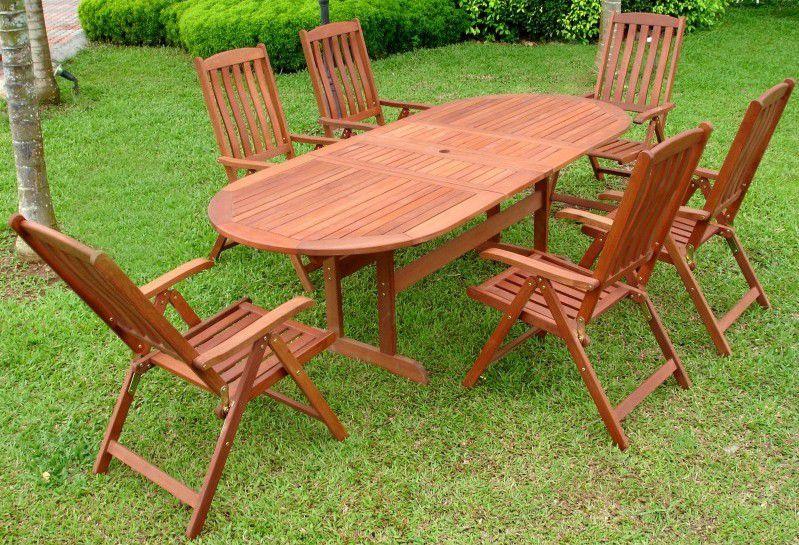 Větší oválný zahradní stůl z masivu- dřevo shorea, rozkládací, 173 / 219 cm